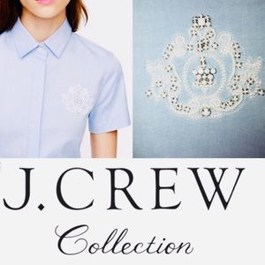J. Crew Collection Oxford Beaded Embellished Shirt